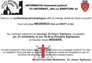 "Dezbaterea ""Medierea-activitate de interes public""- Sighisoara, 21 noiembrie 2013, organizata de Asociatia Mediatorilor ""EX AEQUO"" Sighisoara"