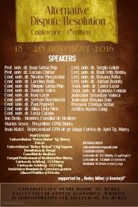 """Conferința """"Alternative Dispute Resolution""""- Targu-Mures, 18-20 noiembrie 2016"""